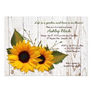 Rustikale Sonnenblume-Brautparty-Einladung