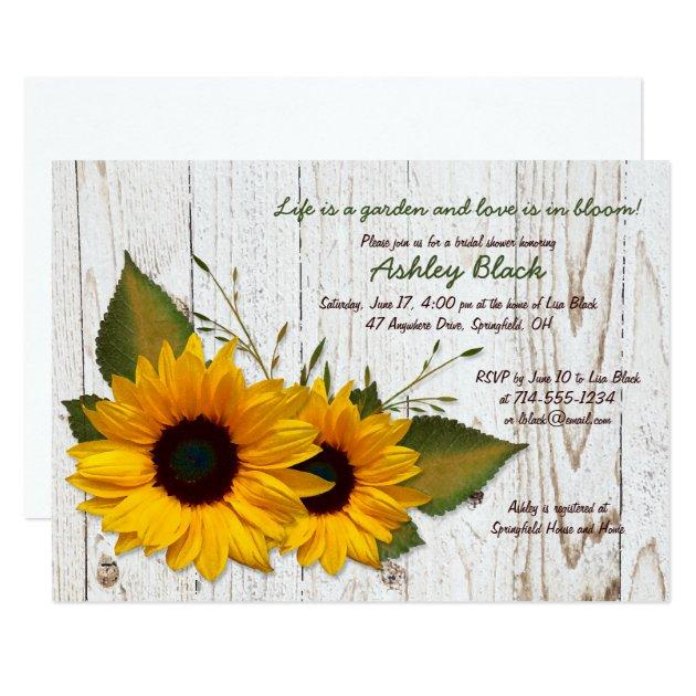 Rustikale Sonnenblume Brautparty Einladung 12,7 X 17,8 Cm Einladungskarte |  Zazzle