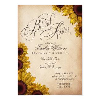 Rustikale Sonnenblume-Brautparty-Einladungen 12,7 X 17,8 Cm Einladungskarte