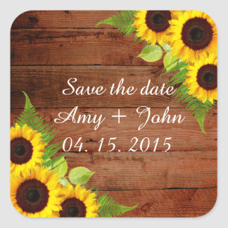 Rustikale Sonnenblume-Farn-Hochzeits-Aufkleber Quadratischer Aufkleber