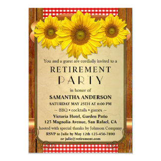 Rustikale Sonnenblume GRILLEN Ruhestands-Party Karte