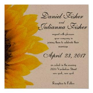 Rustikale Sonnenblume-Hochzeits-Einladung Quadratische 13,3 Cm Einladungskarte