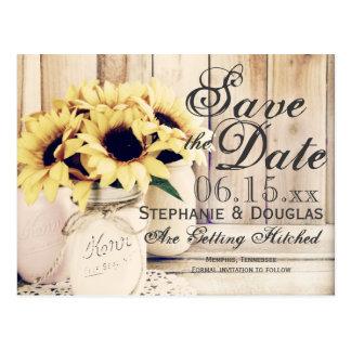 Rustikale Sonnenblume-Maurer-Glas-Save the Date Postkarte