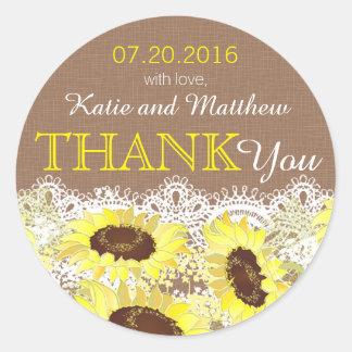 Rustikale Sonnenblume-Spitze danken Ihnen zu Runder Aufkleber