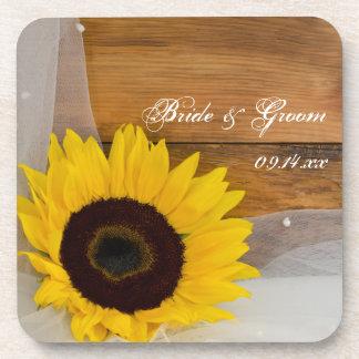 Rustikale Sonnenblume und Schleier-Land-Hochzeit Drink Untersetzer