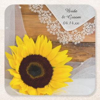 Rustikale Sonnenblume und Spitze-Land-Hochzeit Rechteckiger Pappuntersetzer
