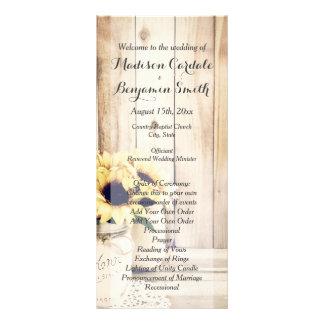 Rustikale Sonnenblume-Weckglas-Hochzeits-Programme Personalisierte Werbekarte