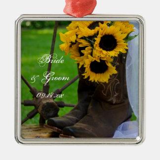 Rustikale Sonnenblumen und Silbernes Ornament