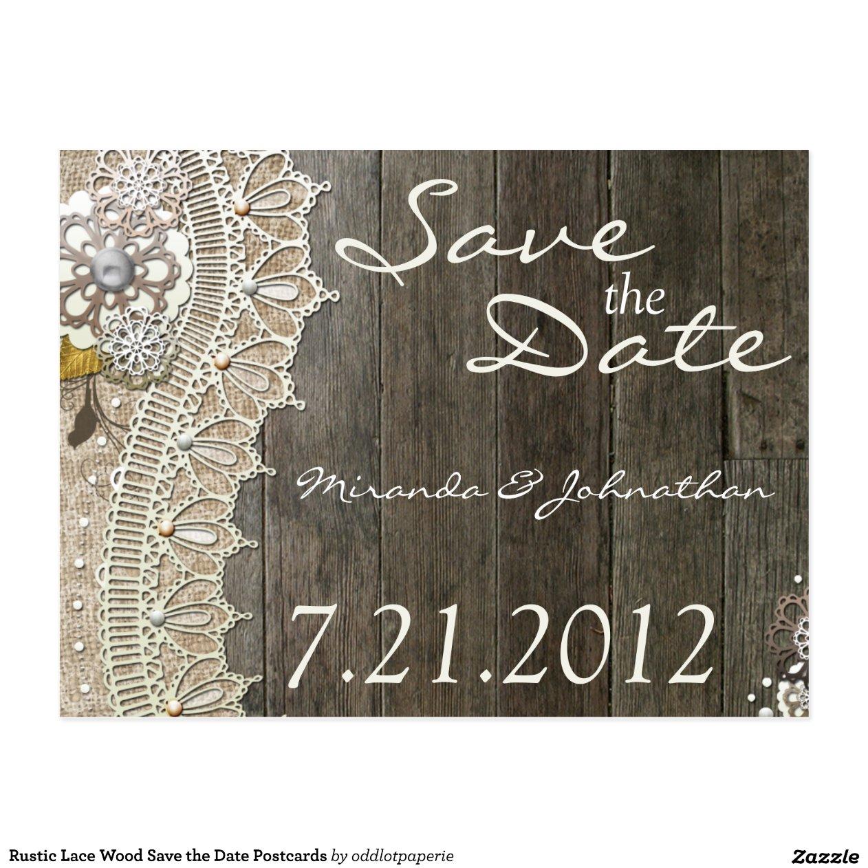 rustikale spitze holz save the date postkarten zazzle. Black Bedroom Furniture Sets. Home Design Ideas