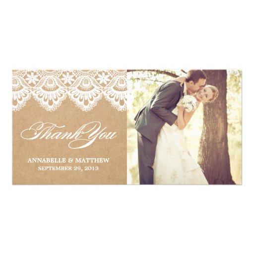 RUSTIKALE SPITZE WEDDING %PIPE% DANKEN IHNEN FOTO- BILD KARTE