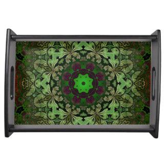 Rustikale Steampunk böhmische Waldgrün-Mandala Tablett