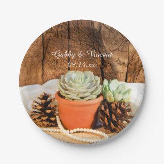 Rustikale Succulents und Scheunen-hölzerne Pappteller