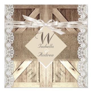 Rustikale Tür-Hochzeits-Spitze-hölzerne Leinwand, Quadratische 13,3 Cm Einladungskarte