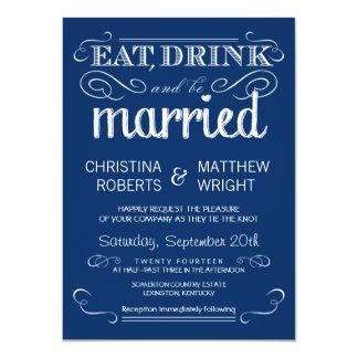 Rustikale Typografie-blaue Hochzeits-Einladungen