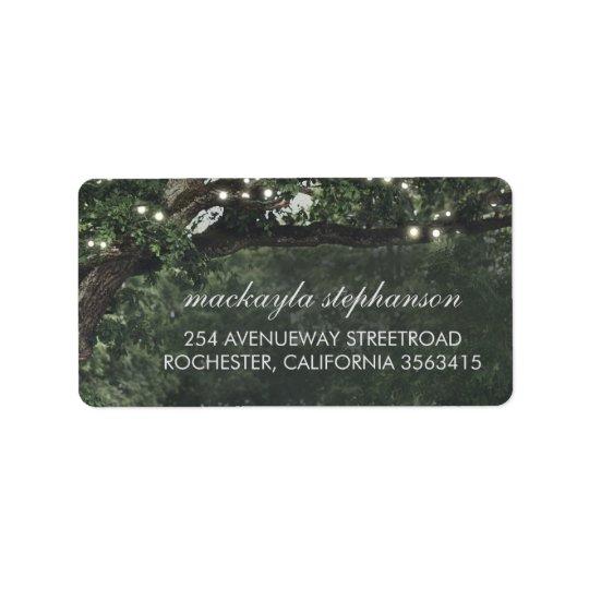 Rustikale und Vintage Licht-Baum-Hochzeit Adressaufkleber