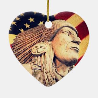Rustikale USA-Flagge patriotischer amerikanischer Keramik Ornament