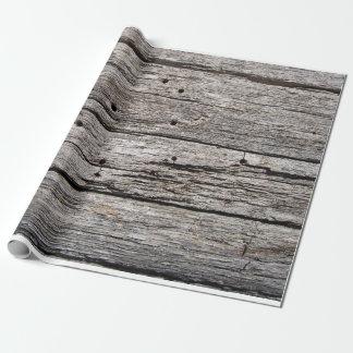 Rustikale verwitterte hölzerne Strandplatten Geschenkpapier