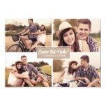 Rustikale vier Foto-Rahmen-Save the Date Individuelle Ankündigung
