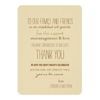 Rustikale | Vintage| beige Hochzeit danken Ihnen 12,7 X 17,8 Cm Einladungskarte