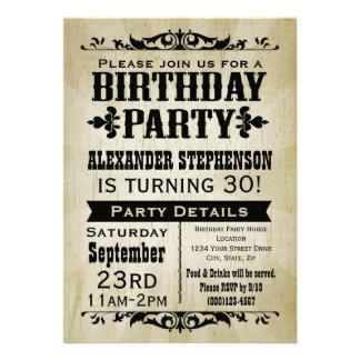 Rustikale Vintage Land-Geburtstags-Party Einladung