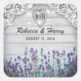 Rustikale Vintage Lavendel-Gastgeschenke Hochzeit Quadratischer Aufkleber