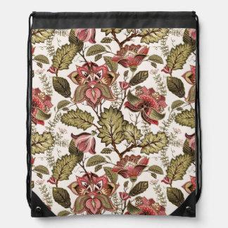 Rustikale Vintage Paisley-Blume auf sahnigem Turnbeutel