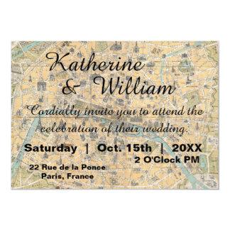 Rustikale Vintage Paris-Karten-Hochzeits-Einladung Karte