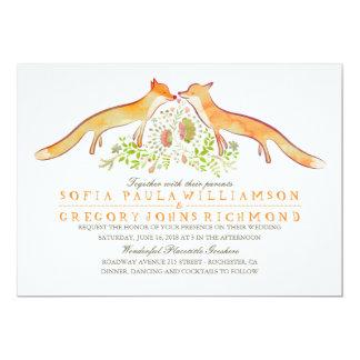 Rustikale Waldfox-Hochzeits-Einladungen 12,7 X 17,8 Cm Einladungskarte