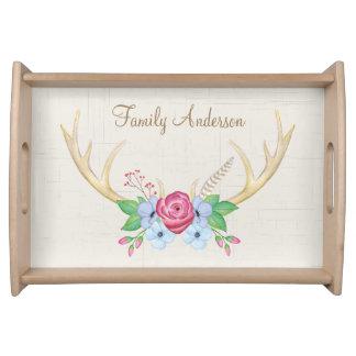 Rustikale Watercolor-Geweih-Blumen personalisiert Serviertablett