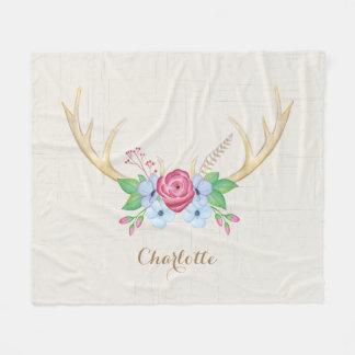 Rustikale Watercolor-Rotwild-Geweih-Blumen Fleecedecke