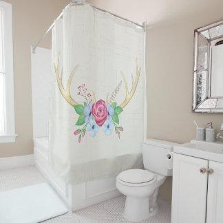 Rustikale Watercolor-Rotwild-Geweihe mit Blumen Duschvorhang