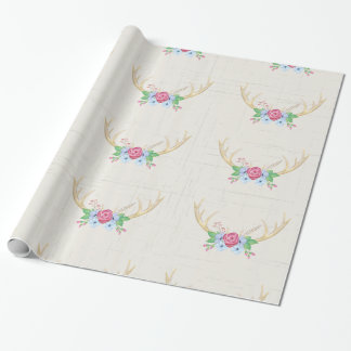Rustikale Watercolor-Rotwild-Geweihe mit Blumen Geschenkpapier