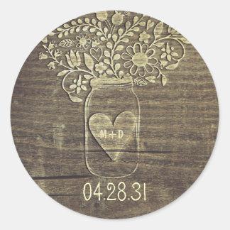 Rustikale Weckglas-Hochzeits-Aufkleber Runder Aufkleber