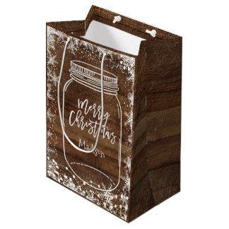 Rustikale Weckglas-Weihnachtsgeschenk-Tasche Mittlere Geschenktüte