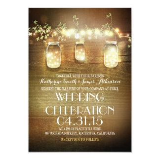 rustikale Weckgläser und wedding Schnurlichter 12,7 X 17,8 Cm Einladungskarte