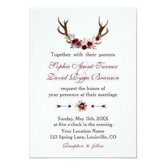 Rustikale Wedding Blumengeweihe Burgunders Marsala Karte
