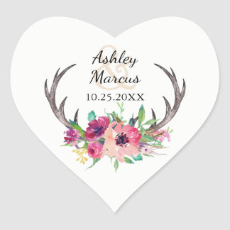 Rustikale Wedding Boho Blumengeweihe Herz-Aufkleber