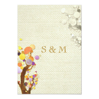 Rustikale Wedding Eleganz-Leinwand-Bäume 12,7 X 17,8 Cm Einladungskarte