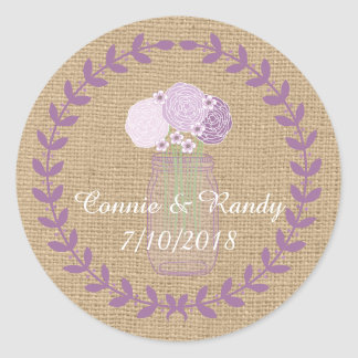 Rustikale Wedding Leinwand und lila Runder Aufkleber
