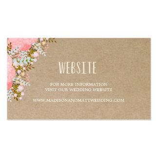 Rustikale Wedding Website-Karte der Blumen-  Visitenkarten
