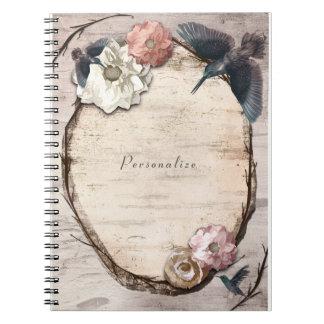 Rustikale weiße Birke mit Blumen u. Kolibri Notizblock