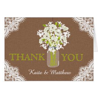 Rustikale weiße Mohnblumen-Spitze danken Ihnen Karte
