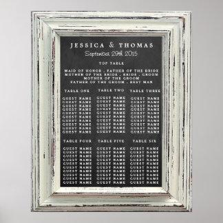 Rustikale weiße Rahmen-u. Tafel-Hochzeits-Sammlung Poster