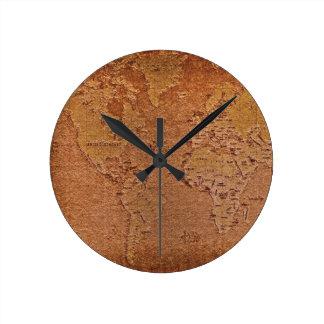 Rustikale Weltkarte-Schmutz-Kunst-Designer-Uhr Runde Wanduhr