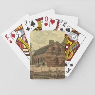 Rustikale Western-Land-Bauernhauschic-Rot-Scheune Spielkarten