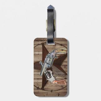 rustikale Westernland-Texas-Sterncowboypistolen Gepäckanhänger