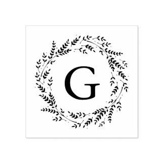 Rustikale Wreath-Monogramm-Gummi-Briefmarke Gummistempel