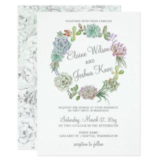 Rustikale Wüsten-saftige Kranz-Hochzeits-Einladung Einladungskarte