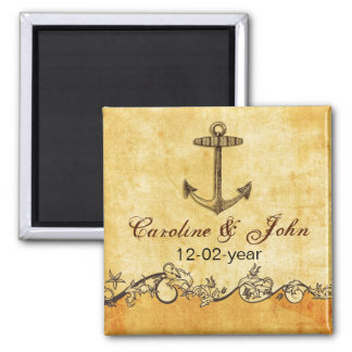 rustikaler Anker Seewedding Save the Date Quadratischer Magnet