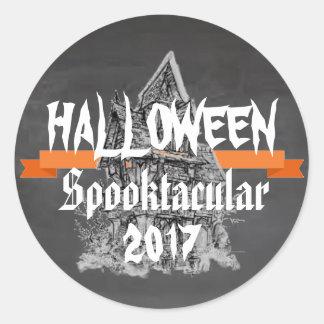 Rustikaler Aufkleber Tafel-Halloweens Spooktacular